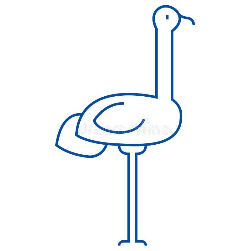Linea concetto dell'airone dell'icona Simbolo piano di vettore dell'airone, segno, illustrazione del profilo royalty illustrazione gratis