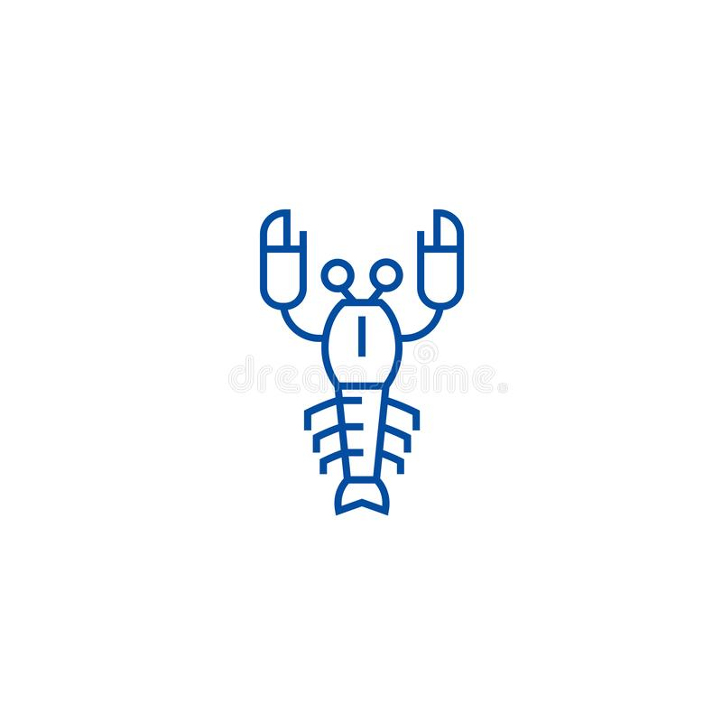 Linea concetto dell'aragosta dell'icona Simbolo piano di vettore dell'aragosta, segno, illustrazione del profilo illustrazione di stock