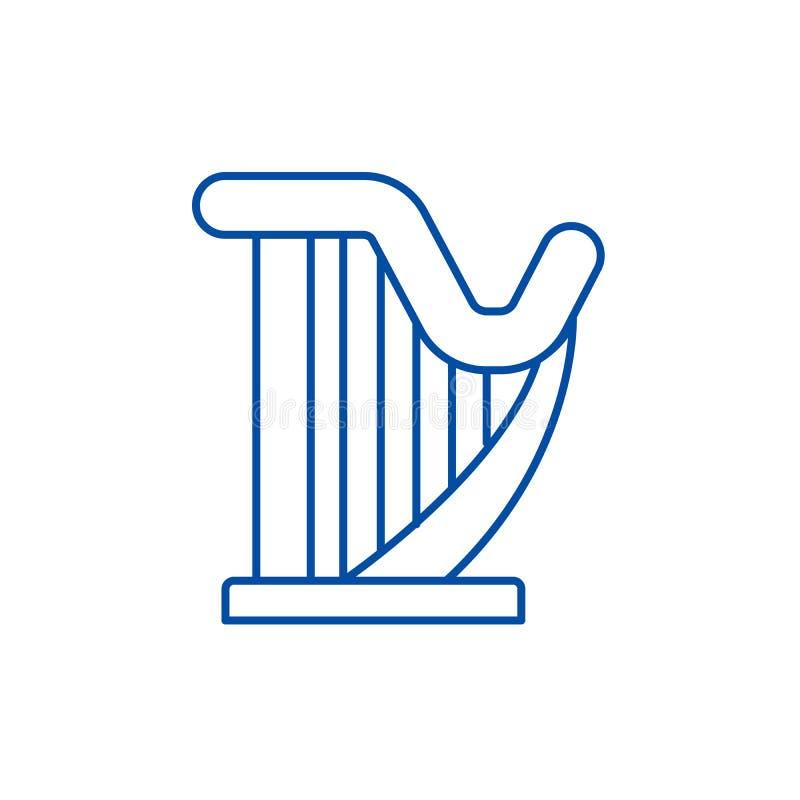 Linea concetto dell'arpa dell'icona Simbolo piano di vettore dell'arpa, segno, illustrazione del profilo illustrazione vettoriale