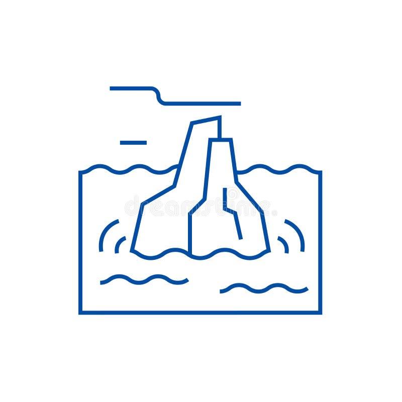 Linea concetto dell'iceberg dell'icona Simbolo piano di vettore dell'iceberg, segno, illustrazione del profilo illustrazione vettoriale