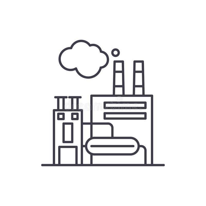 Linea concetto dell'istallazione industriale dell'icona Illustrazione lineare di vettore dell'istallazione industriale, simbolo,  illustrazione vettoriale