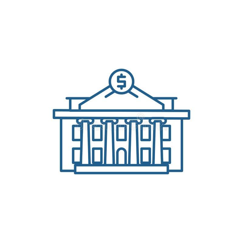 Linea concetto dell'istituzione finanziaria dell'icona Simbolo piano di vettore dell'istituzione finanziaria, segno, illustrazion royalty illustrazione gratis