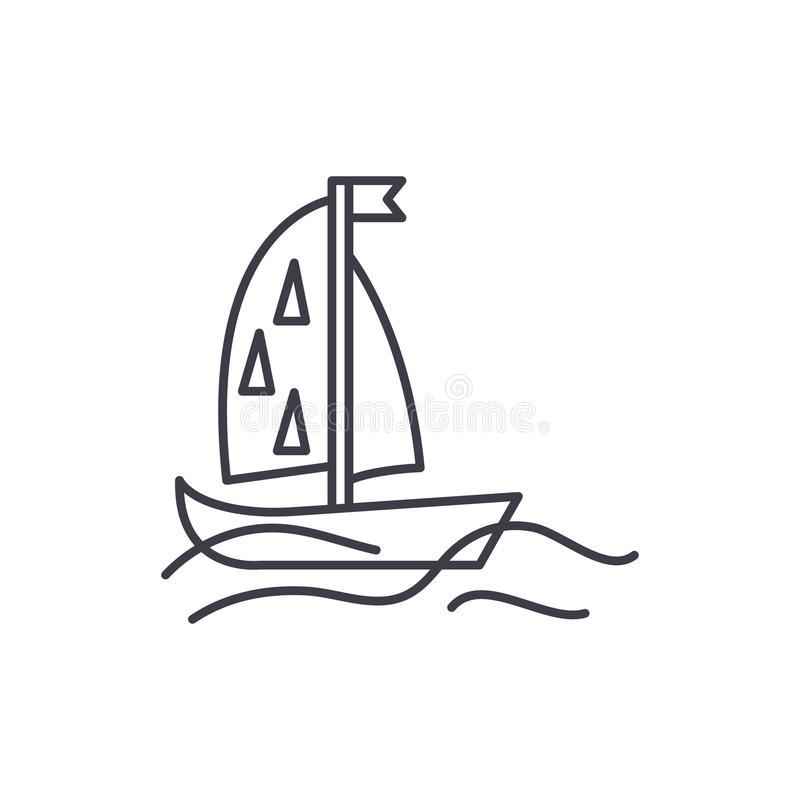 Linea concetto dell'yacht di sport dell'icona Illustrazione lineare di vettore dell'yacht di sport, simbolo, segno illustrazione di stock
