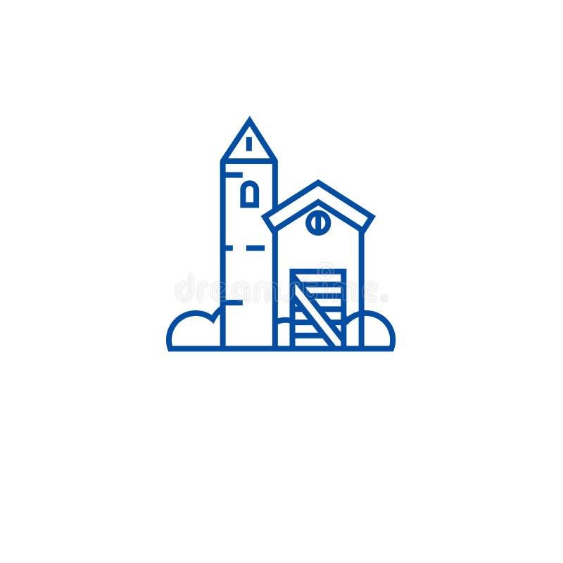 Linea concetto della casa dell'azienda agricola del ranch dell'icona Simbolo piano di vettore della casa dell'azienda agricola de illustrazione vettoriale