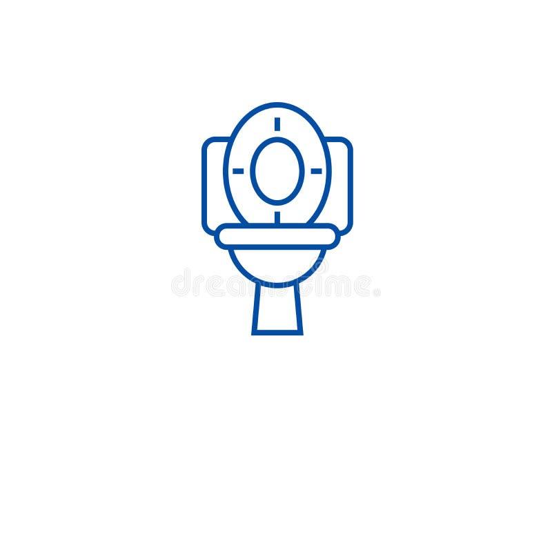 Linea concetto della ciotola di toilette dell'icona Simbolo piano di vettore della ciotola di toilette, segno, illustrazione del  illustrazione di stock