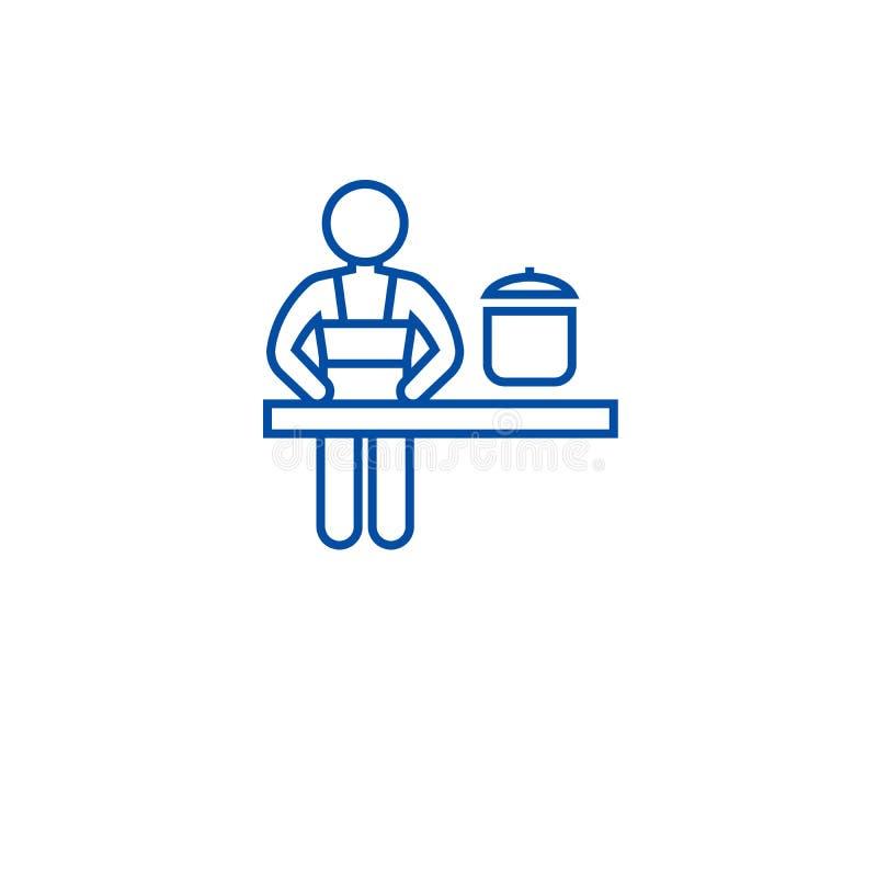Linea concetto della classe di cottura dell'icona Simbolo piano di vettore della classe di cottura, segno, illustrazione del prof illustrazione vettoriale