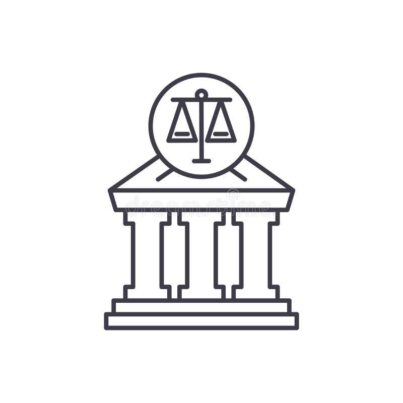 Linea concetto della corte dell'icona Illustrazione lineare di vettore della corte, simbolo, segno illustrazione di stock