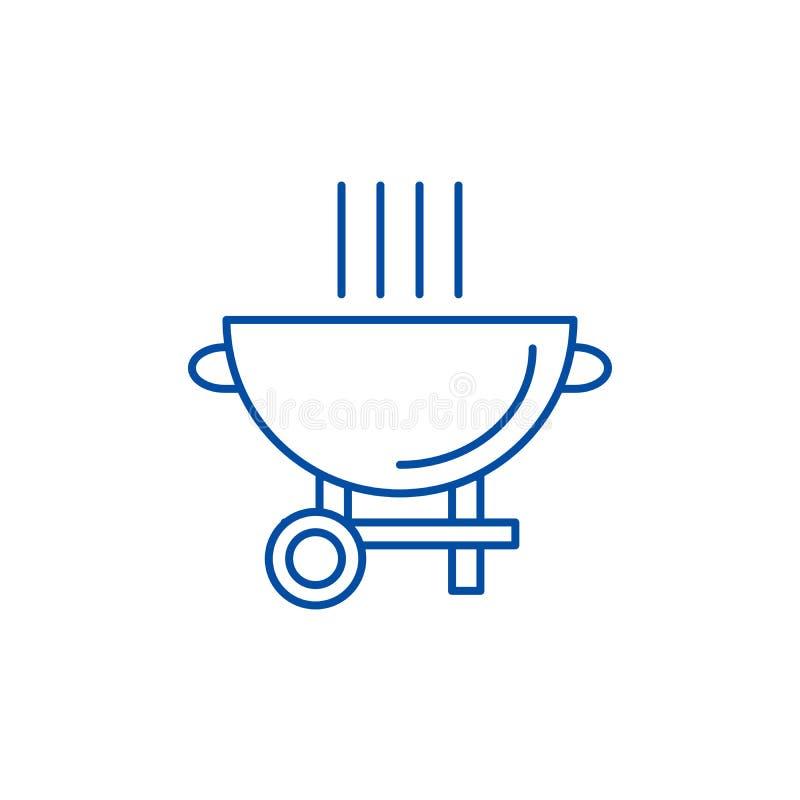 Linea concetto della griglia del barbecue dell'icona Simbolo piano di vettore della griglia del barbecue, segno, illustrazione de royalty illustrazione gratis