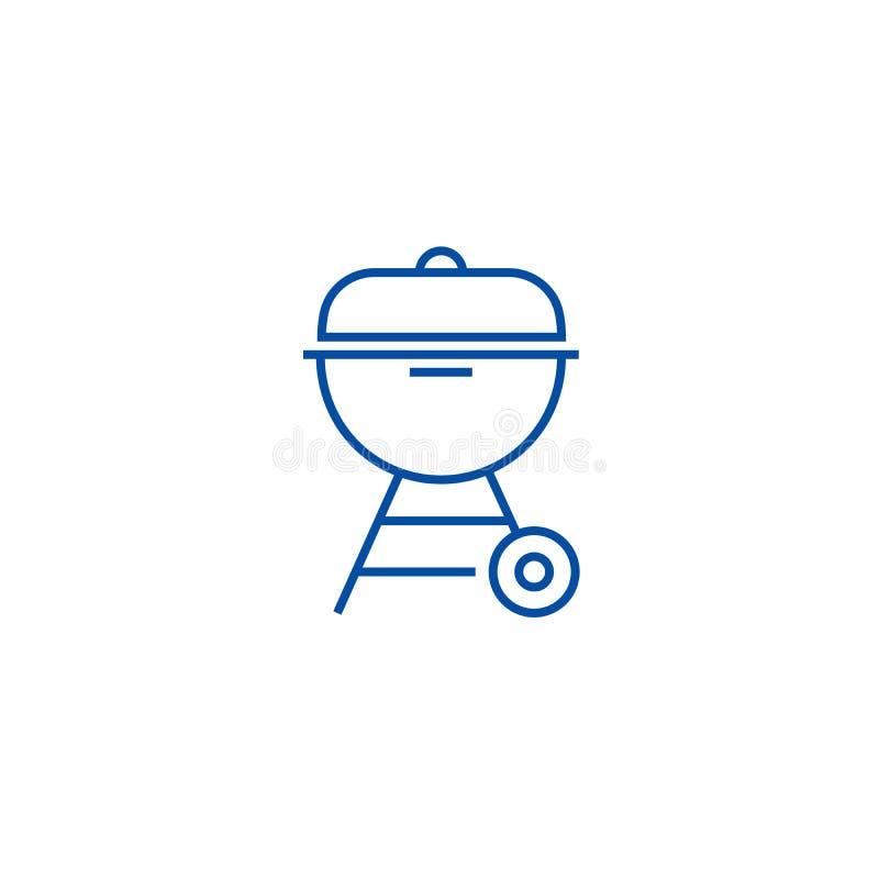 Linea concetto della griglia del carbone dell'icona Simbolo piano di vettore della griglia del carbone, segno, illustrazione del  royalty illustrazione gratis