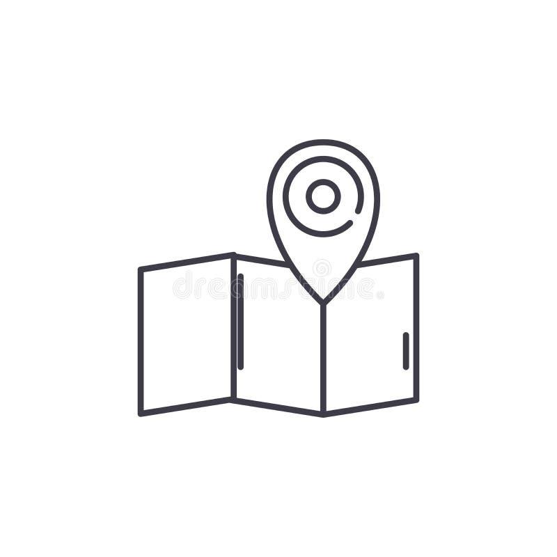 Linea concetto della mappa dell'icona Illustrazione lineare di vettore della mappa, simbolo, segno illustrazione di stock
