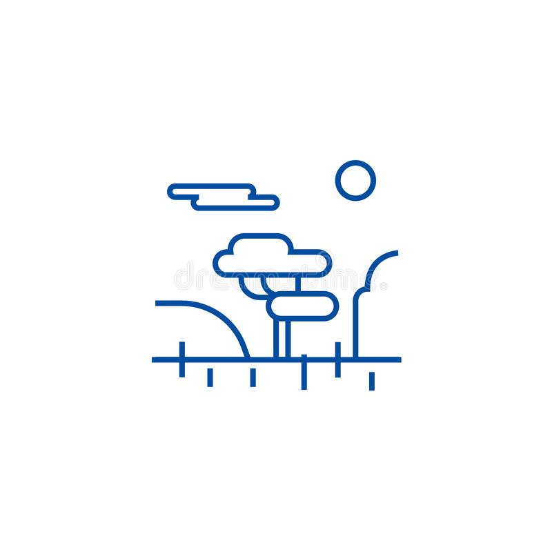 Linea concetto della savana dell'icona Simbolo piano di vettore della savana, segno, illustrazione del profilo illustrazione di stock