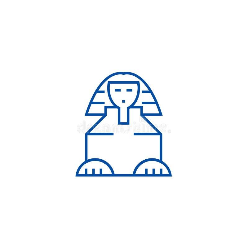 Linea concetto della Sfinge dell'icona Simbolo piano di vettore della Sfinge, segno, illustrazione del profilo royalty illustrazione gratis