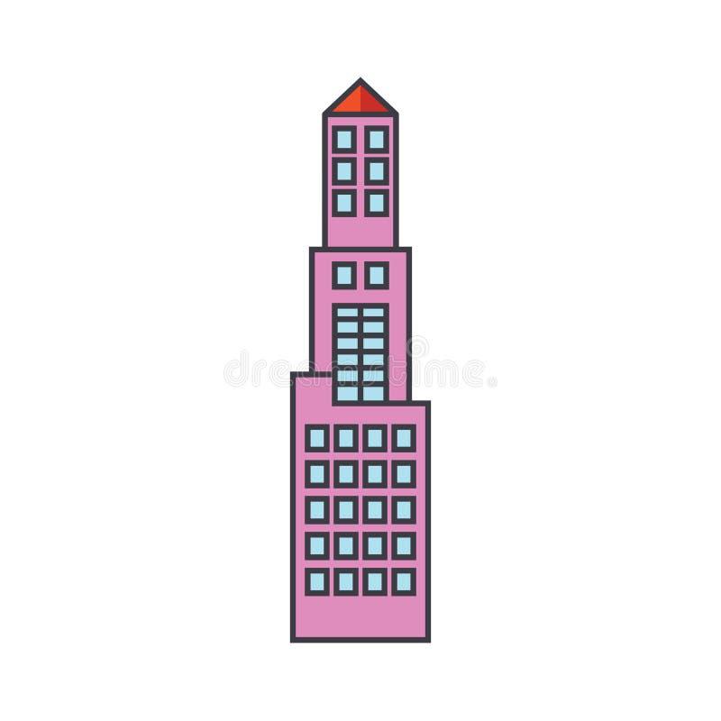 Linea concetto della torre dell'ufficio dell'icona Segno piano di vettore della torre dell'ufficio, simbolo, illustrazione royalty illustrazione gratis