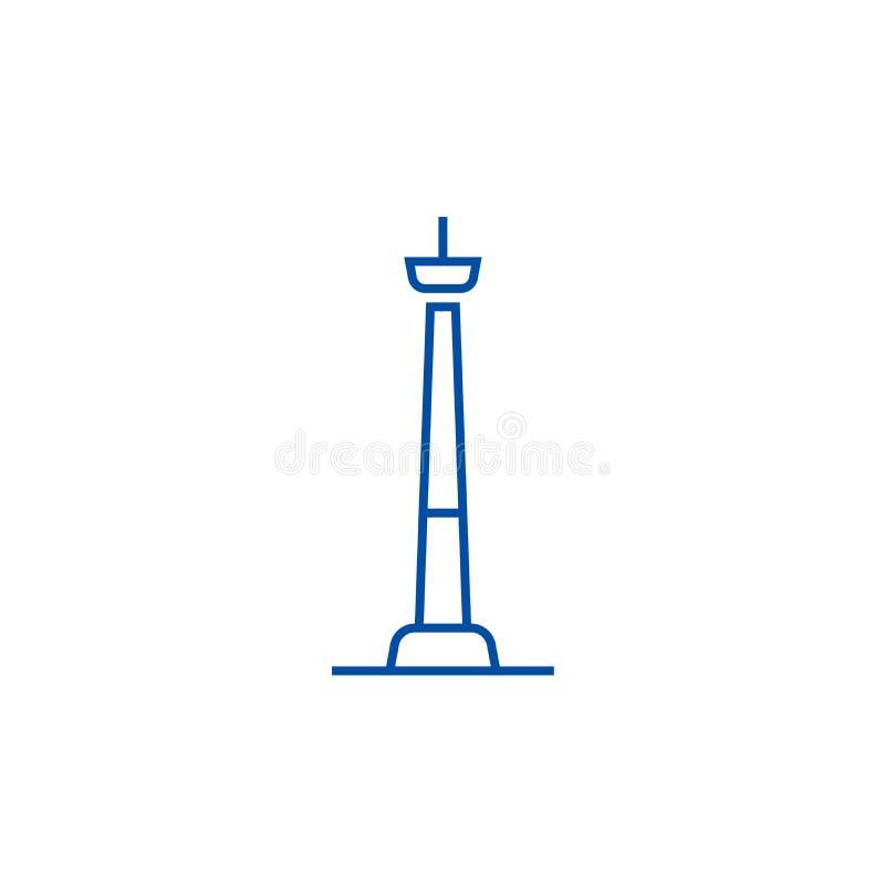 Linea concetto della torre della TV dell'icona Simbolo piano di vettore della torre della TV, segno, illustrazione del profilo illustrazione vettoriale