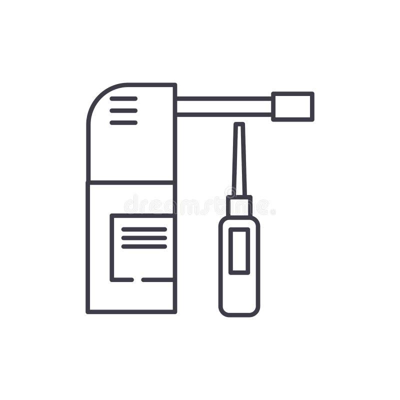 Linea concetto dello spruzzo di naso dell'icona Illustrazione lineare di vettore dello spruzzo di naso, simbolo, segno illustrazione vettoriale