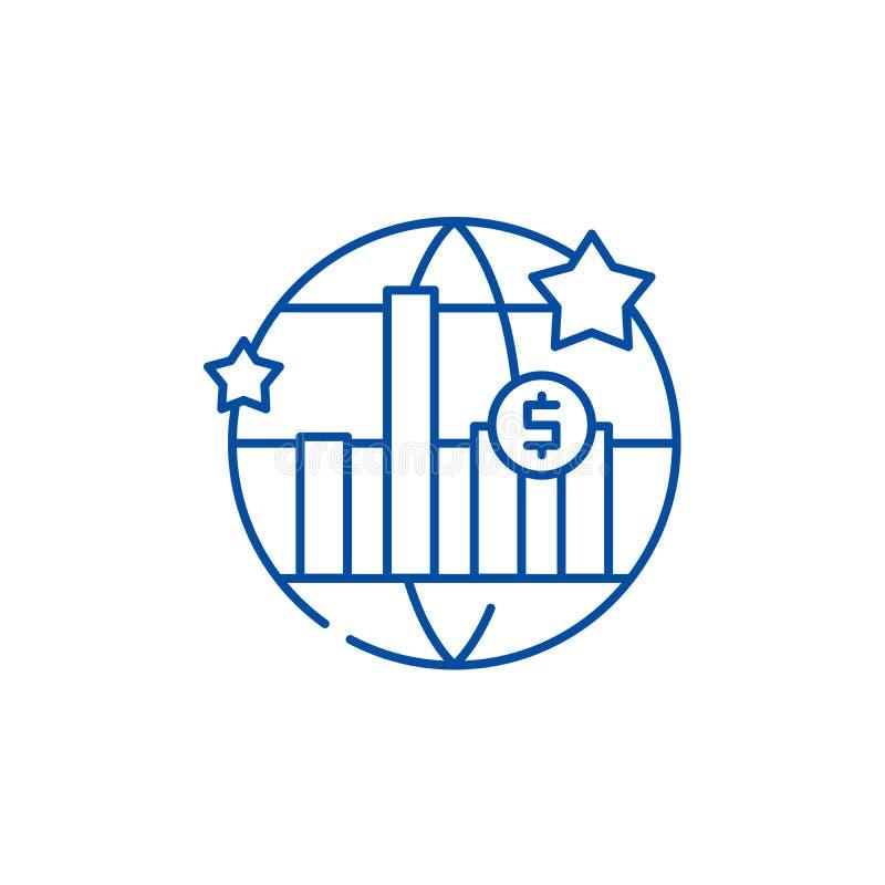 Linea concetto dello sviluppo economico del mondo dell'icona Simbolo piano di vettore dello sviluppo economico del mondo, segno,  illustrazione di stock
