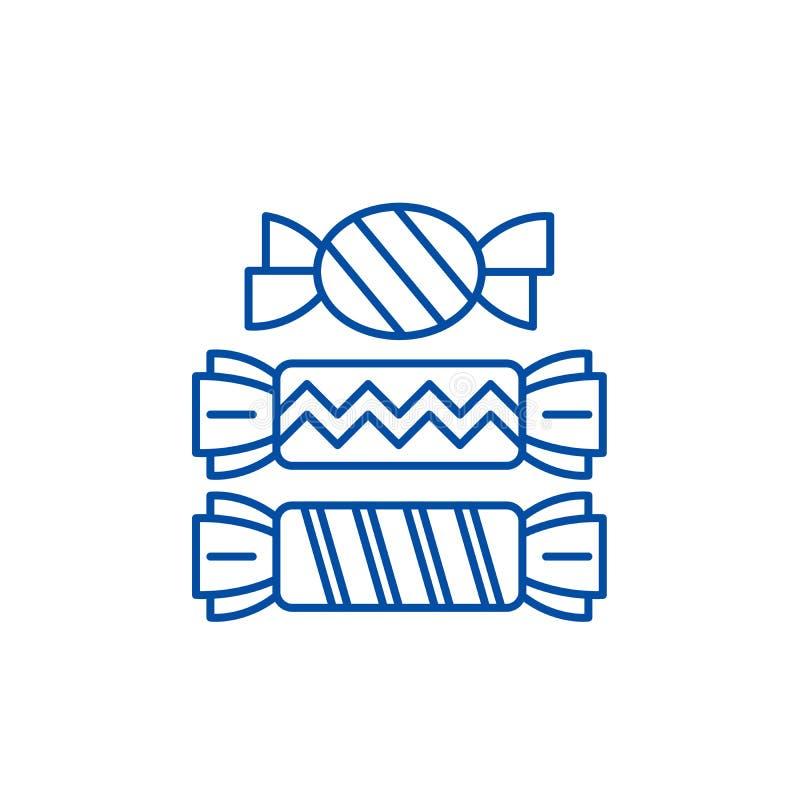 Linea concetto di Candy dell'icona Simbolo piano di vettore di Candy, segno, illustrazione del profilo illustrazione vettoriale