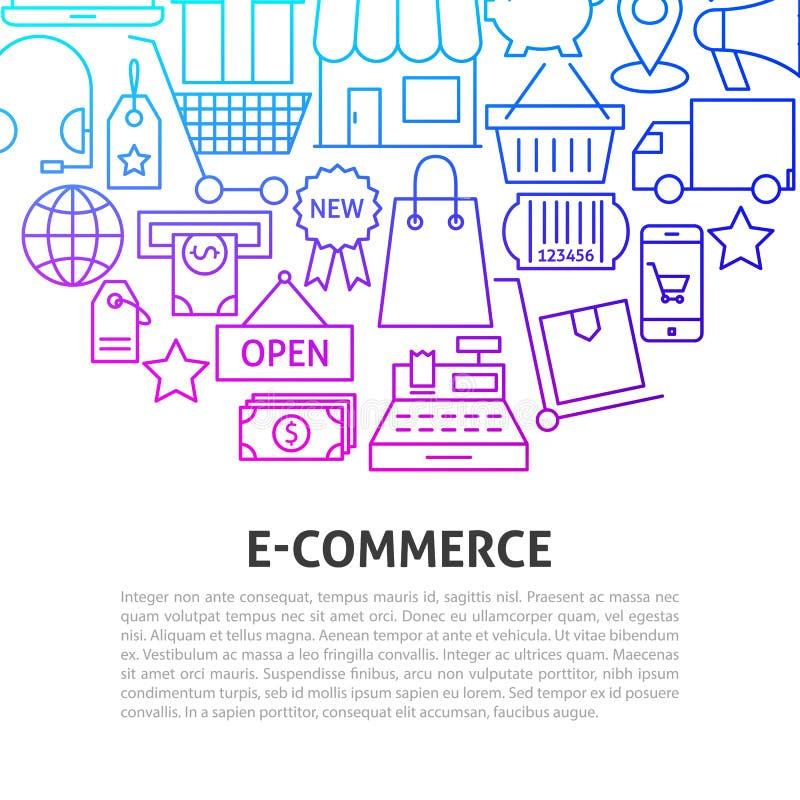 Linea concetto di commercio elettronico royalty illustrazione gratis