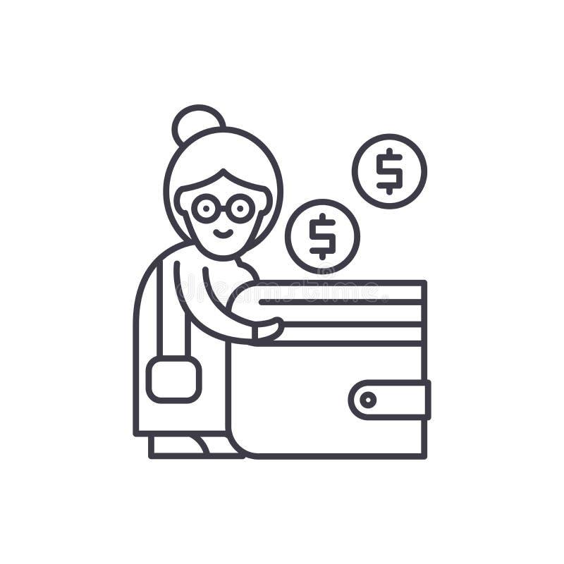 Linea concetto di contributo di pensione dell'icona Illustrazione lineare di vettore di contributo di pensione, simbolo, segno royalty illustrazione gratis