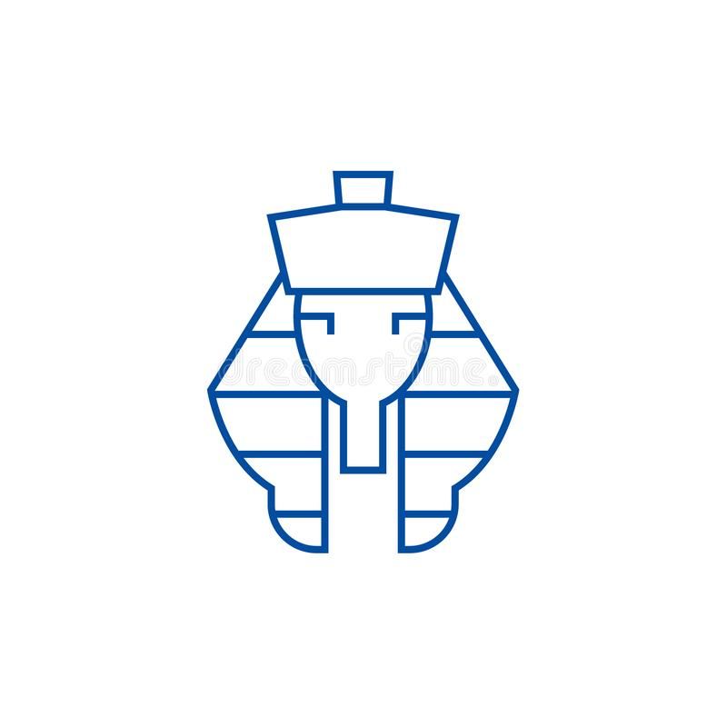 Linea concetto di faraone dell'icona Simbolo piano di vettore di faraone, segno, illustrazione del profilo royalty illustrazione gratis