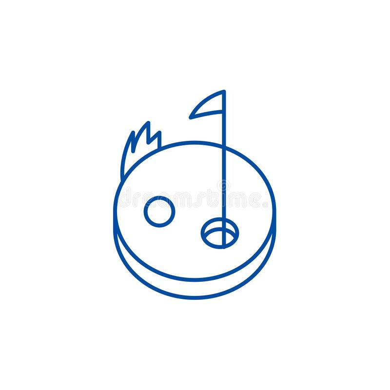Linea concetto di golf dell'icona Simbolo piano di vettore di golf, segno, illustrazione del profilo illustrazione vettoriale