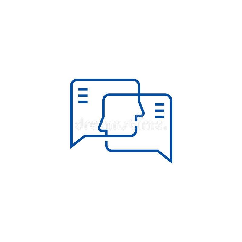 Linea concetto di impegno sociale dell'icona Simbolo piano di vettore di impegno sociale, segno, illustrazione del profilo illustrazione vettoriale
