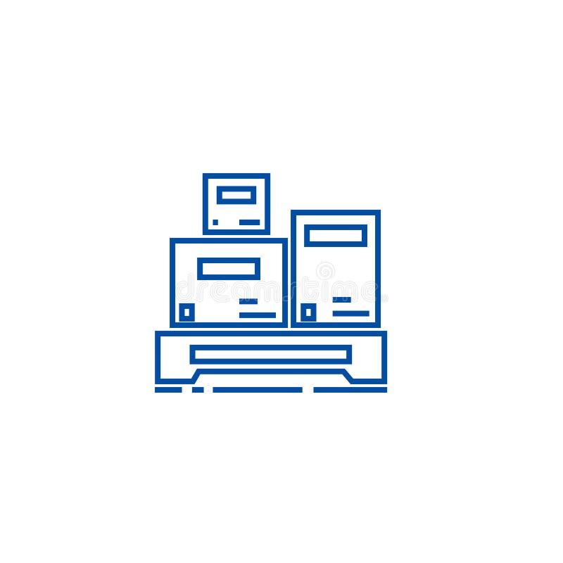 Linea concetto di misura del carico dell'icona Simbolo piano di vettore di misura del carico, segno, illustrazione del profilo illustrazione vettoriale