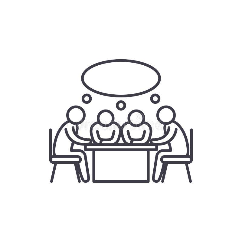 Linea concetto di riunione di piccola impresa dell'icona Illustrazione lineare di vettore di riunione di piccola impresa, simbolo royalty illustrazione gratis