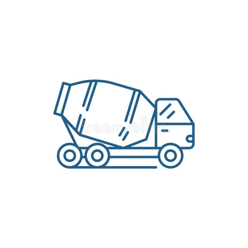 Linea concreta concetto del camion dell'icona Simbolo piano di vettore del camion concreto, segno, illustrazione del profilo illustrazione vettoriale