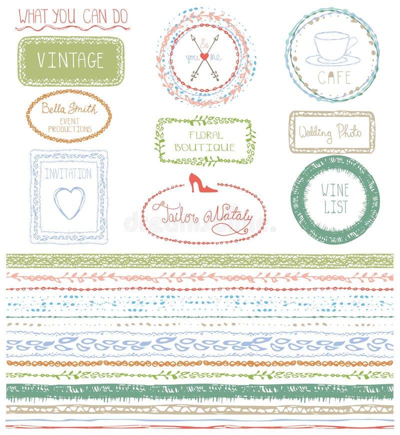 Linea confine senza cuciture disegnata a mano di scarabocchio con il logo royalty illustrazione gratis