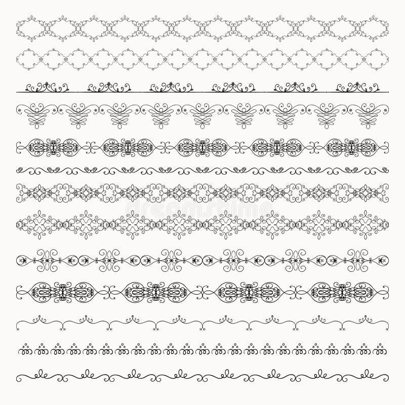 Linea confini disegnata a mano, divisori di Tileable di vettore, royalty illustrazione gratis