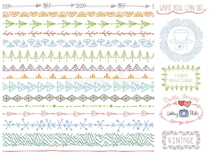 Linea confini senza cuciture disegnata a mano di scarabocchio messi Logo colorato illustrazione di stock