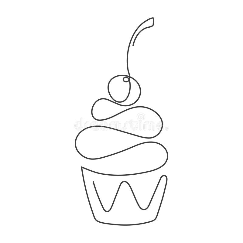 Linea continua bigné con la ciliegia su superiore isolata su fondo bianco Illustrazione di vettore illustrazione di stock