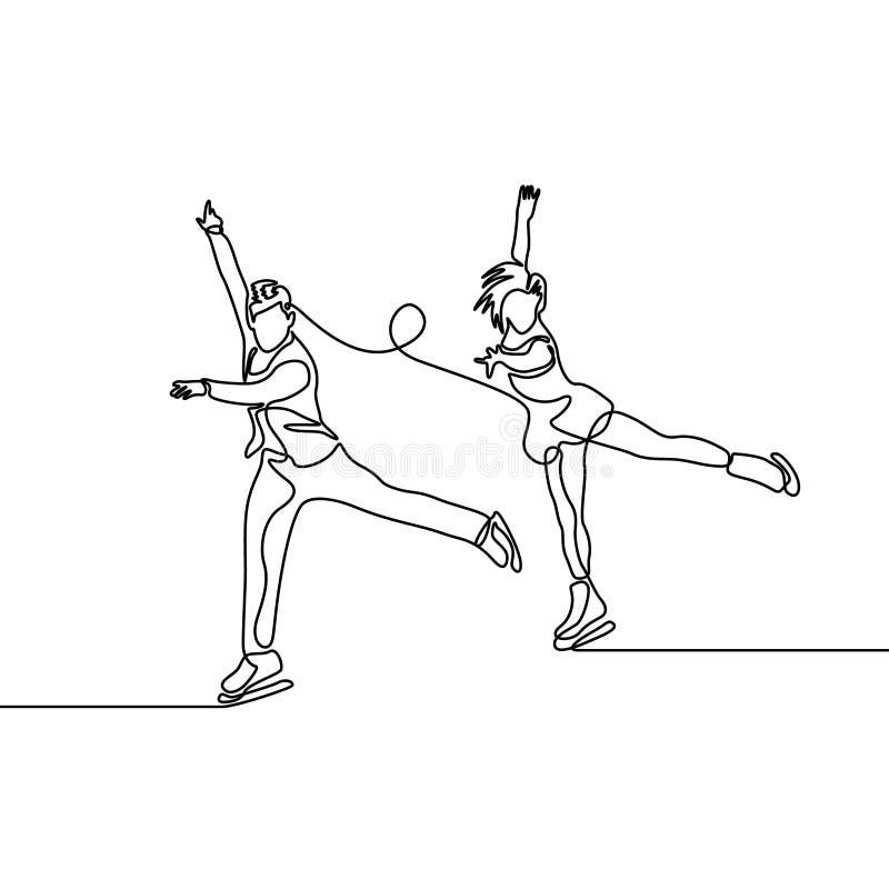 Linea continua coppia di pattinatori artistici, pattinaggio artistico di paia illustrazione di stock