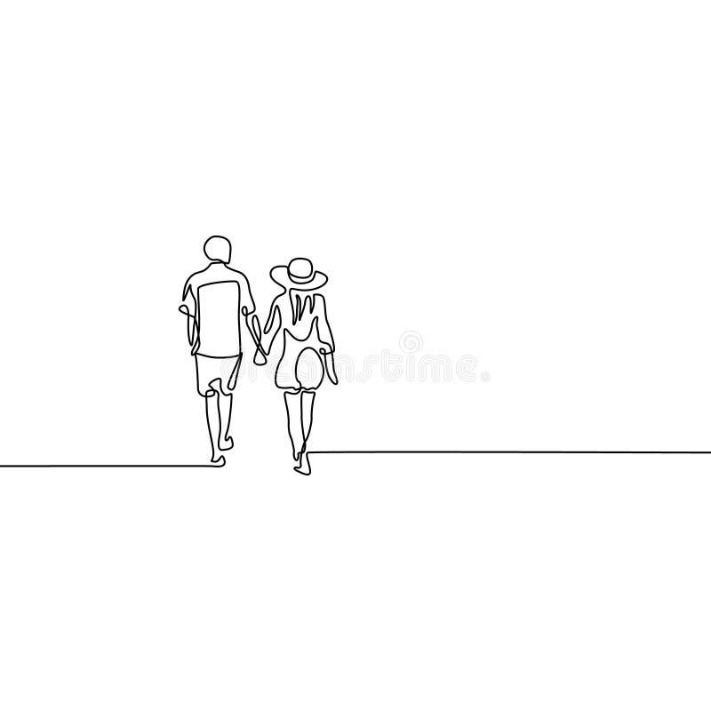 Linea continua coppia nel tenersi per mano della passeggiata di amore illustrazione di stock