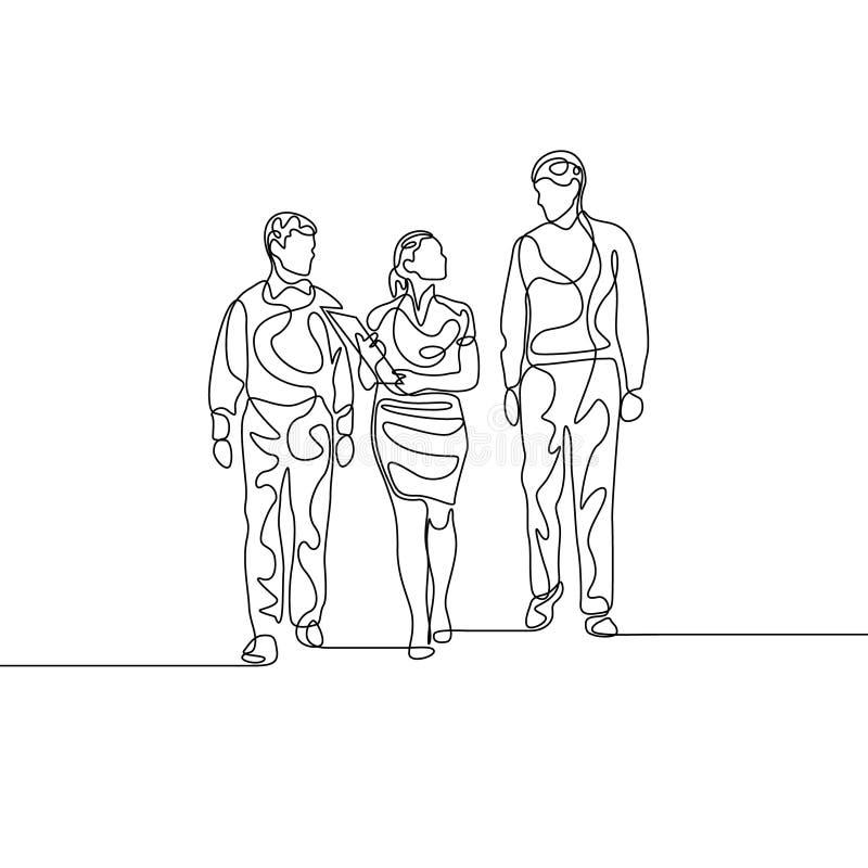 Linea continua donna di affari con due assistans che discute lavoro royalty illustrazione gratis