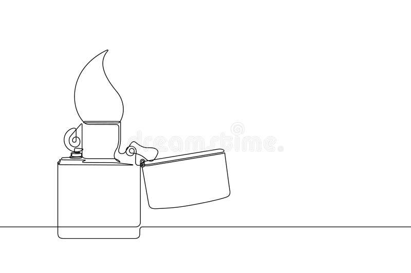 Linea continua illustrazione dell'accendino del metallo di vettore illustrazione di stock