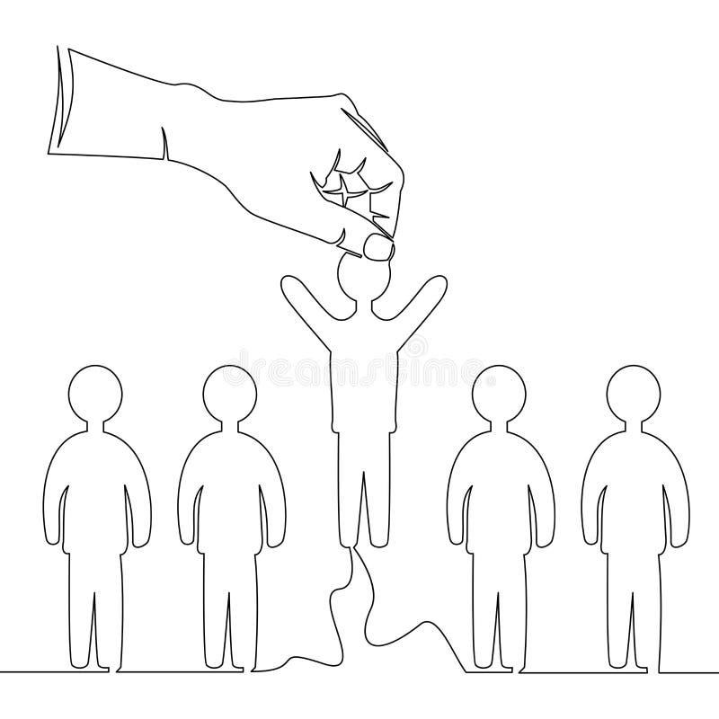 Linea continua mano che prende concetto della persona illustrazione vettoriale