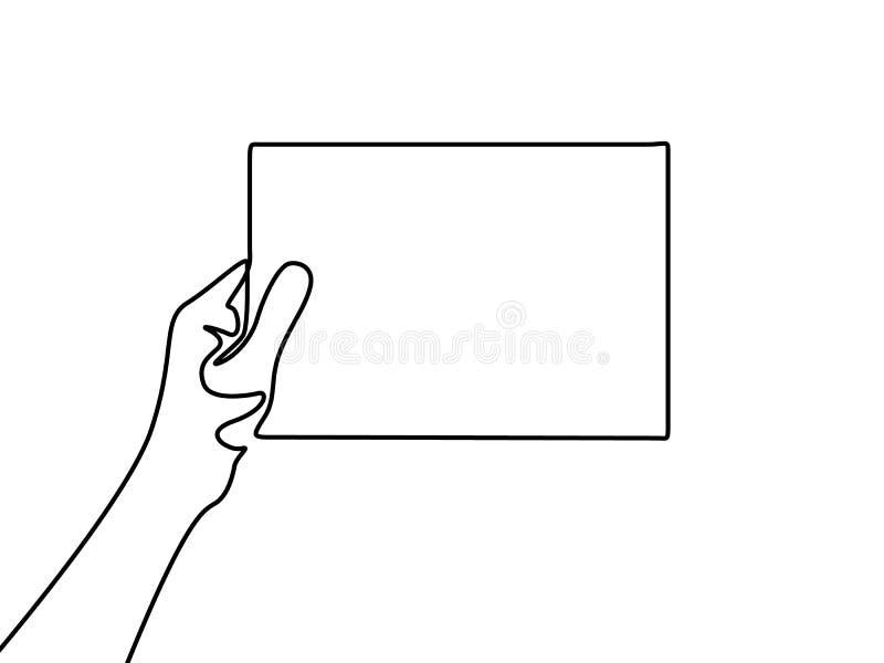 Linea continua mano che tiene un foglio bianco di carta royalty illustrazione gratis