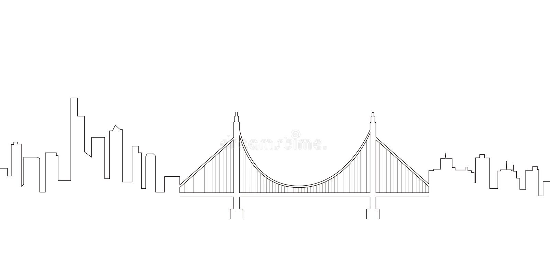 Linea continua orizzonte di San Francisco illustrazione di stock