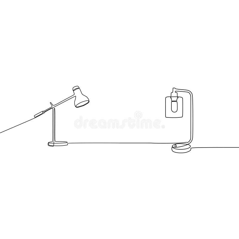 linea continua vettore della lampada della candela dello scrittorio e della lampada di studente della lampada Insieme del profilo royalty illustrazione gratis