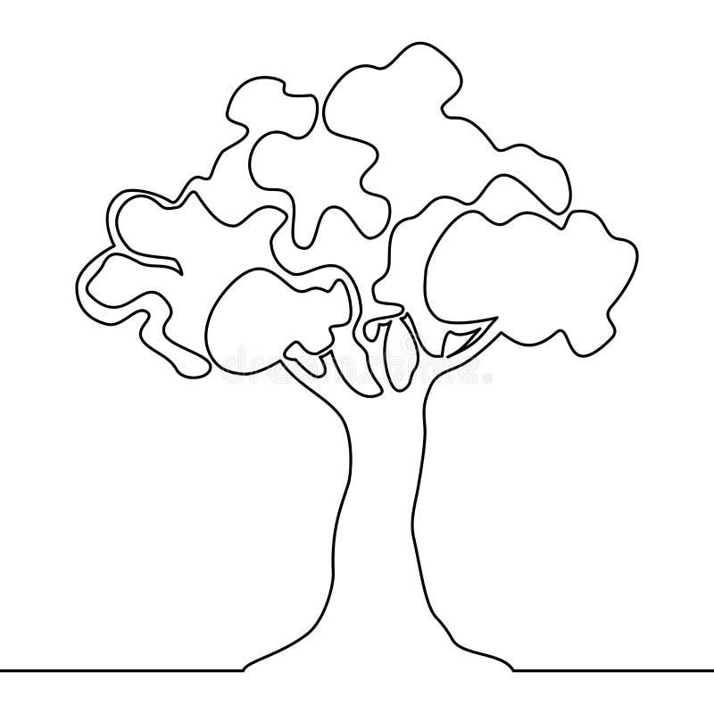Linea continua vettore di logo dell'albero una dell'albero della natura illustrazione vettoriale