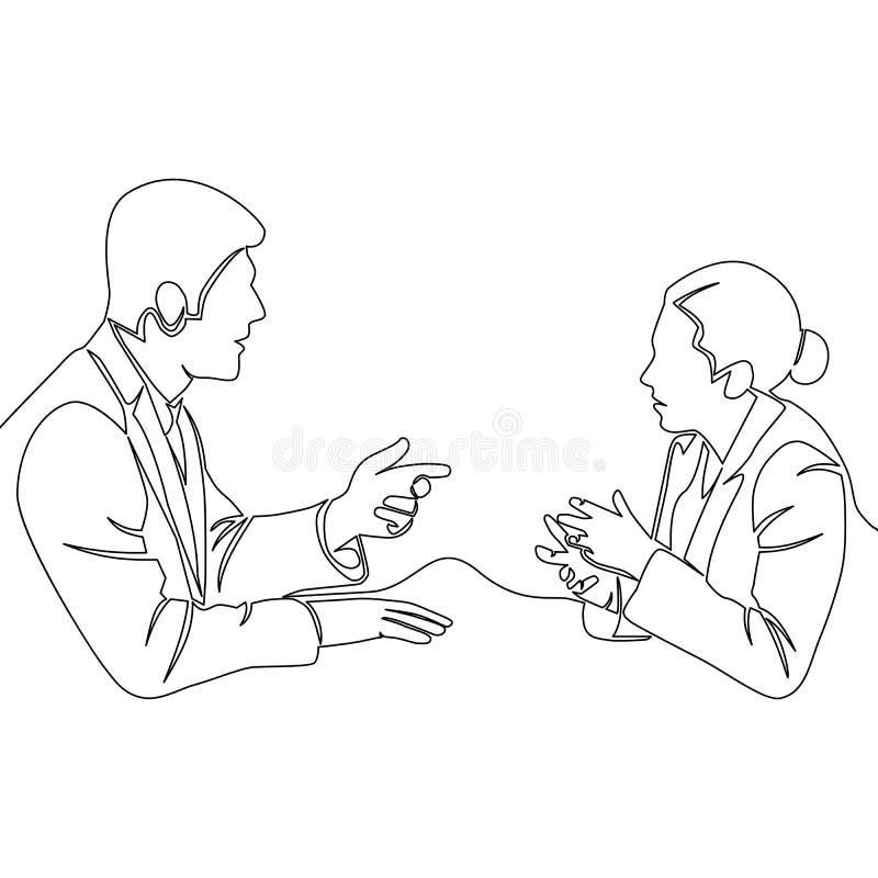 Linea conversazione di discussione una della donna e dell'uomo illustrazione di stock