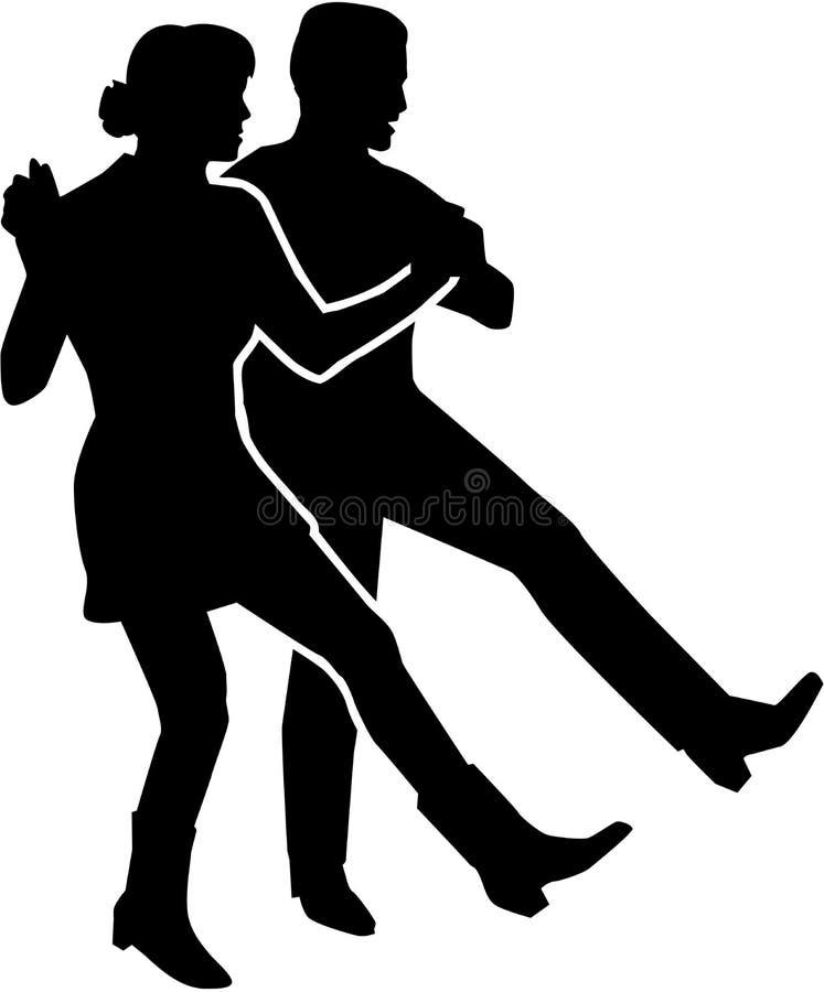 Linea coppia di dancing illustrazione di stock