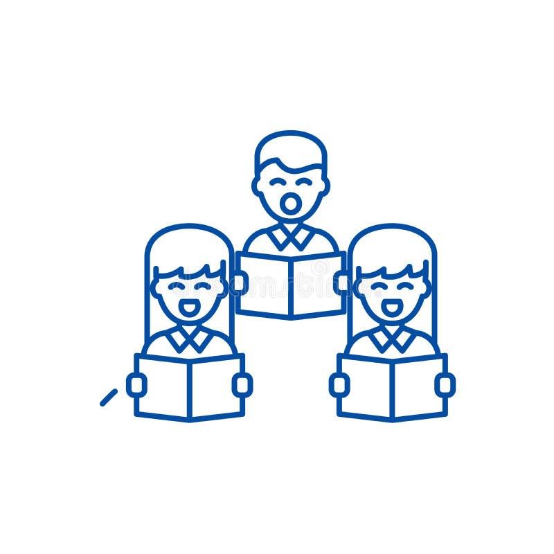 Linea corale concetto di canto dell'icona Simbolo piano di vettore di canto corale, segno, illustrazione del profilo illustrazione vettoriale