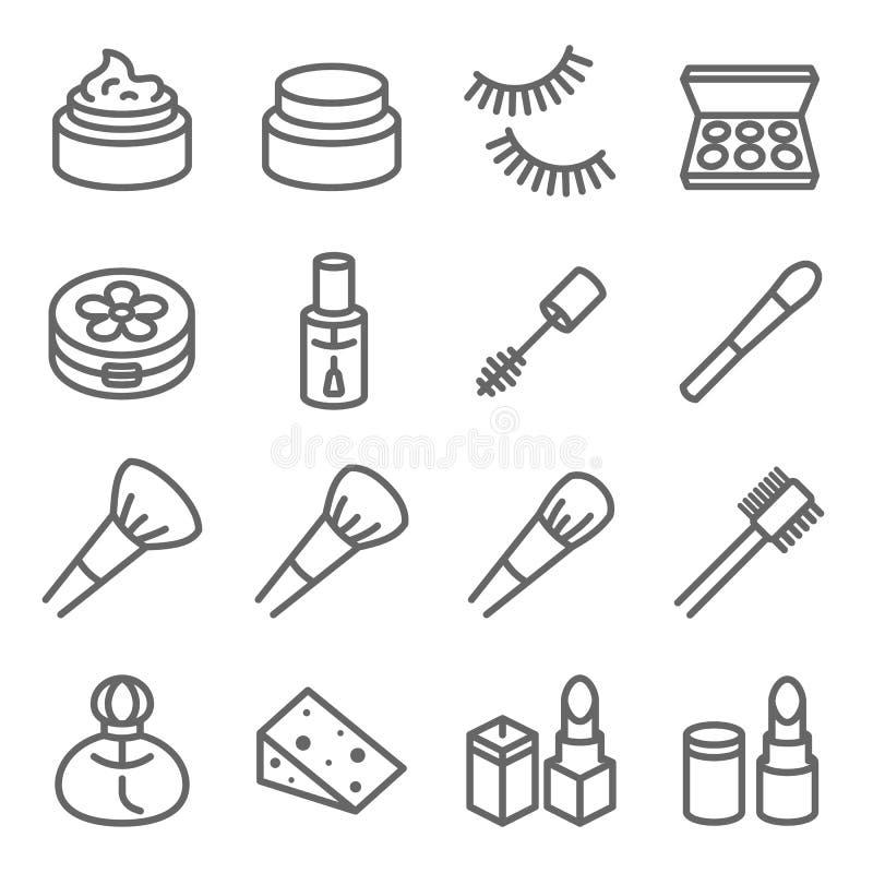 Linea cosmetica insieme di vettore di trucco dell'icona Contiene tali icone come lo smalto, la mascara del rossetto, ciglio e più illustrazione di stock