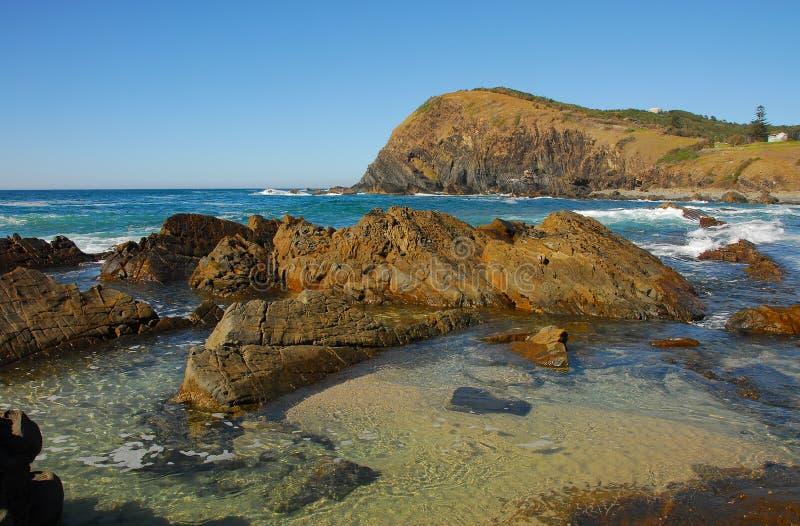 Linea costiera capa a mezzaluna fotografia stock libera da diritti