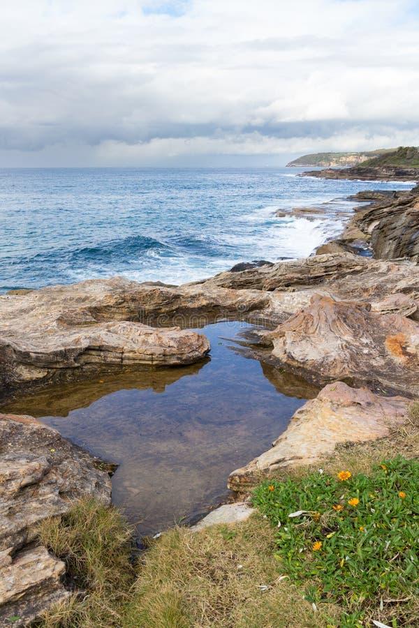 Linea costiera del Nuovo Galles del Sud vicino alla baia d'acqua dolce, Sydney, Australia immagini stock libere da diritti