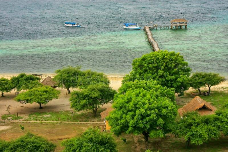 Linea costiera dell'isola di Kanawa nel mare del Flores, Nusa Tenggara, Indones fotografia stock