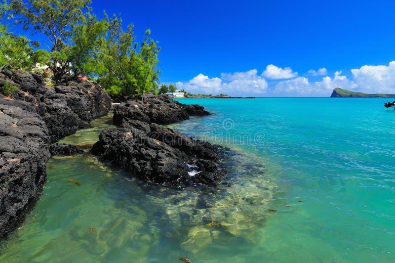 Linea costiera dell'Isola Maurizio immagini stock